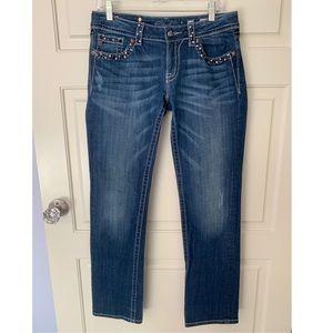 Miss Me Denim straight leg, embellished jeans